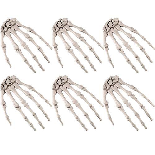 JHLD 6 Stücke Halloween Realistisch, Realistisch Leben Größe Abgetrennt Skelett Hand Für Halloween Dekorationen-15.5×10cm