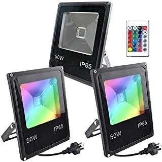 GLW LED Flood Light RGB with Remote Control , 50W Outdoor Garden Lights, IP65 Waterproof Wall Washer Light, 16 Colors Floo...
