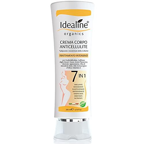 Idealine Crema Anticellulite 7in1 Bio SNELLENTE RASSODANTE IDRATANTE Trattamento Professionale Crema Rassodante Corpo Snellente Pancia e Fianchi 200ml