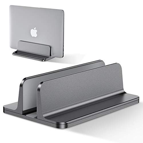 Bewahly Vertical Laptop Stand[Adjustable Size],Aluminum Adjustable Laptop Holder, Saving Space, Suitable for MacBook Pro/Air, iPad, Samsung, Huawei, Surface, Dell, HP, Lenovo and Others (Gray)