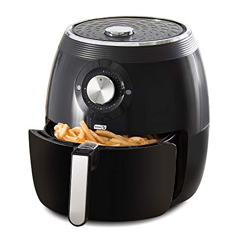 Dash Deluxe Electric Air Fryer + Oven Cooker with Temperature Control, Non-stick Fry Basket, Recipe Guide + Auto Shut Off Feature, 1700-Watt, 6 Quart - Black