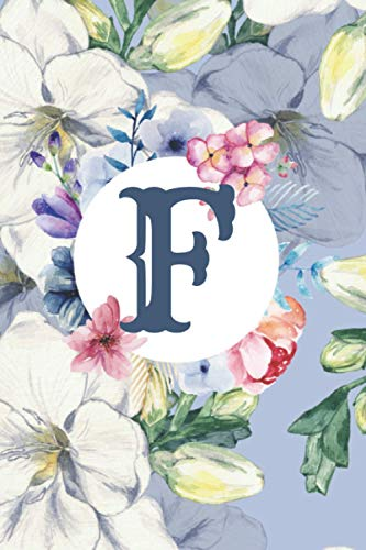 F: Floral Letter F Monogram personalized Journal, baby blue floral notebook, Lined 6x9 inch College Ruled 100 page