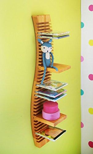 BioKinder 23169 Spar-Set: CD-Regal hängend 80 cm mit 4 Einsteckböden aus Massivholz Erle