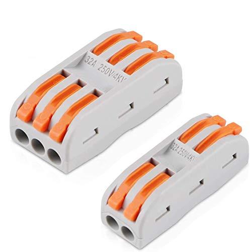 25 Stück Verbindungsklemme Lever Nuts Set, Kompakten Steckklemmen Push Kabelverbinder Sortiment Schnell Klemmenblock Spleißverbinder, SPL2, SPL3
