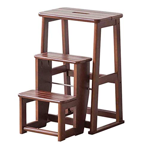 ZENGAI Multifunción 3 Pasos Escalera Plegable, Hogar Fácil De Mover Escalera Plegable, Interior Taburete Puesto De Flores Estante, 3 Colores (Color : Brown, Size : 40x51x60.5cm)