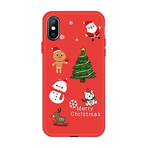 VHR Fundas Funda De Invierno para iPhone XS XR XS X 8 7 6 6S Plus Funda De TPU Suave Y Encantadora para iPhone 7 8 6 6S Plus X Funda De Navidad Funda, 06, para iPhone 7 Plus