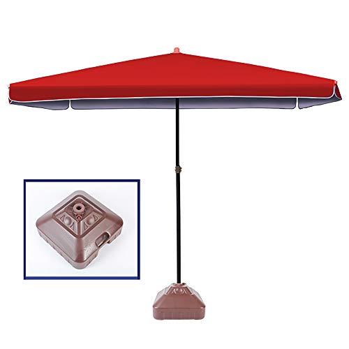 Parasol WYZQQ Outdoor Grote Vierkante Binnenplaats Luifel Paraplu Markt Patio Paraplu Outdoor Tafel Paraplu - 4-speed aanpassing -Polyester En Stevige Ribben, Voor Market Garden Beach Zwembad 2mX2m rood - met Base