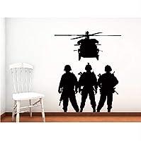 軍壁ステッカー家陸軍兵士シルエット壁壁画ミリタリーシリーズクールビニールポスタールームの装飾45X59Cm