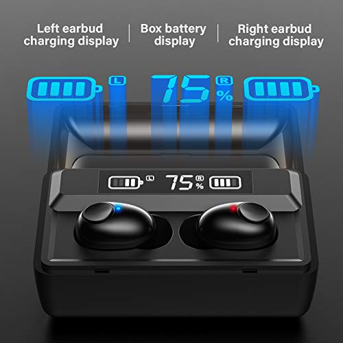 Dacom T8 True Wireless Earbuds with Microphone, Waterproof TWS Stereo Earphones in-Ear Headset, Bluetooth Headphones with Smart LED Display Charging Case for Sports Running Workout Black