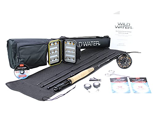 Wild Water Fly Fishing Fortis Series CNC Machined Fly Reel, 7 Foot, 4-Piece, 3/4 Weight Fly Rod Complete Fly Fishing Rod and Reel Combo Starter Package