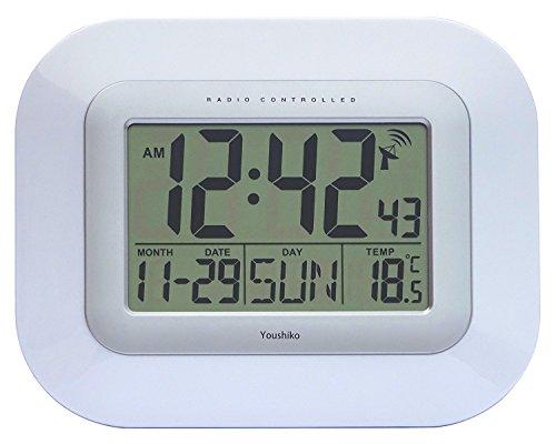 Reloj digital de pared con radio control., blanco, 23 x 3 x 18cm