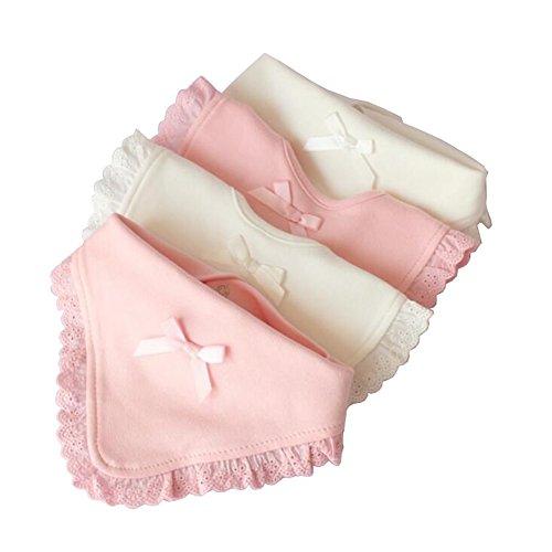 YUMU CASA 4 Piezas Baberos Bebé Toallas de Saliva para Recién Nacido Diseño de Encaje Lazo Lindo Blanco y Rosa para Niñas