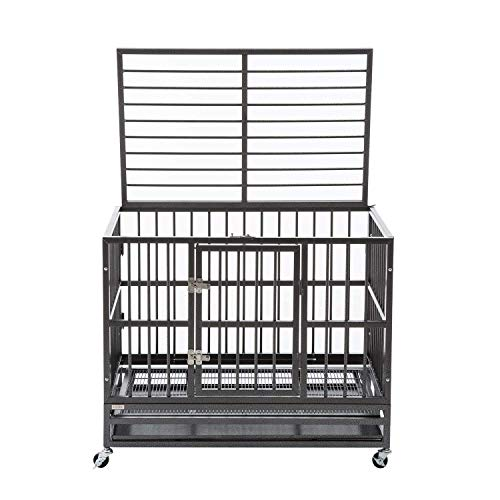 walnest XL 37' Dog Cage Crate Kennel - Heavy Duty Double Door Pet Cage w/Metal Tray Wheels Exercise...