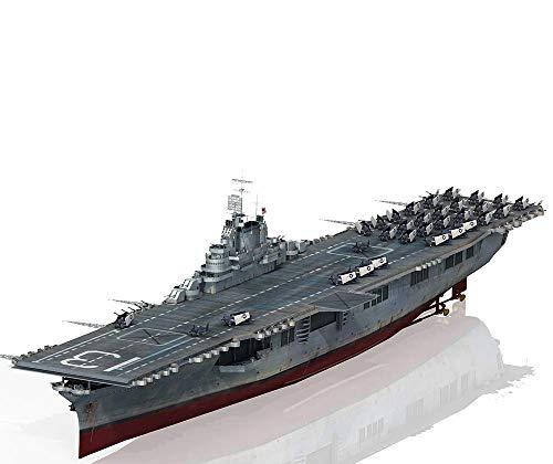 MxZas Battleship Militar Maquetas, escala 1/350 USS Franklin CV-13 Puzzle de plástico para adultos juguetes y objetos de la colección Jzx-n