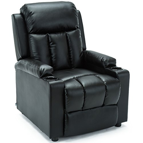 More4Homes STUDIO RECLINER w DRINK HOLDERS ARMCHAIR SOFA BONDED LEATHER CHAIR RECLINING CINEMA (Black)