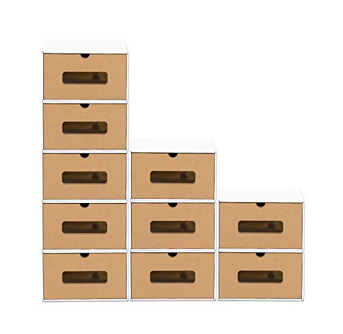 BigDean 10er Boxen-Set mit Sichtfenster & Schublade - Pappkarton aus Kraftpapier - Schuhbox Spielzeug-Box Aufbewahrung für Zubehör & Accessoires