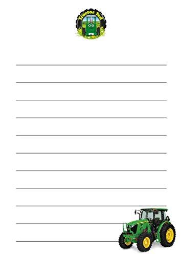 100 A5 Tractor Ted sur le thème écriture Petits Établissements papier – Motif tracteur vert