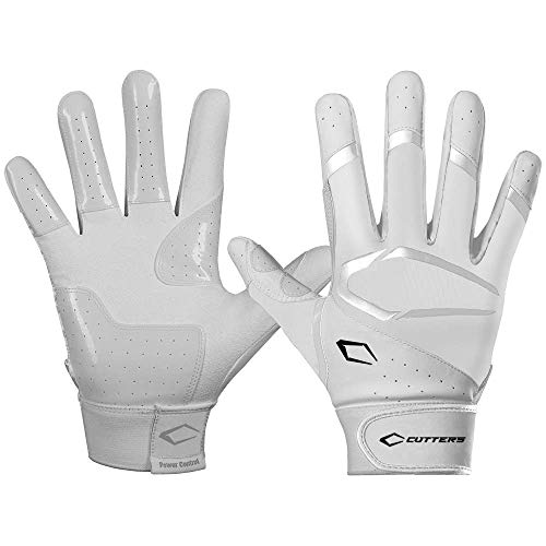 Cutters Power Control 2.0 Batting Gloves, White, Adult Large