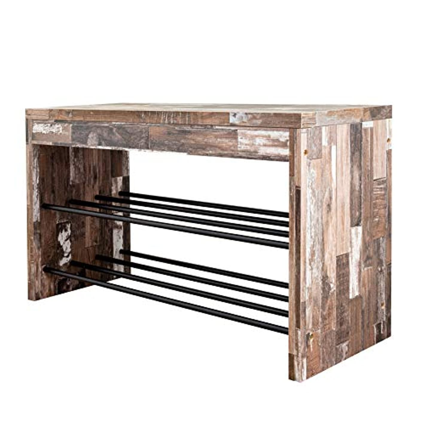 Danya B. HA83110 Industrial Home Decor – Decorative Shoe Bench in Distressed Wood Finish with Two Metal Storage Racks