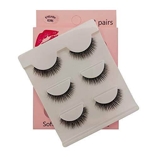 SHIDISHANGPIN 3 paires de cils Cils naturels 3D Essential Beauty Essentials Fluffy Faux Cils Maquillage Professionnel Épais Faux-Cils Réutilisables Fabriqués à la Main # G306