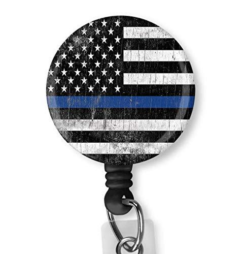 Thin Blue Line American Flag Retractable Badge Reel - Retractable ID Badge Holder - Nurse Badge - Badge Clip - Badge Reels - Badge Holder