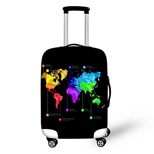 chaqlin Funda protectora para equipaje de viaje con diseño de mapamundi y protector de equipaje de 45,7 a 81,2 cm, tamaño S