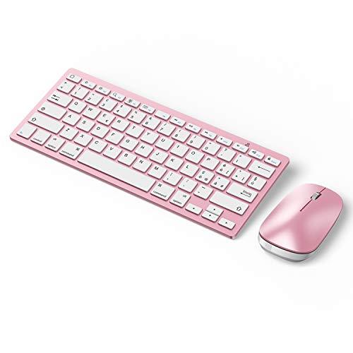 OMOTON Set di Tastiera Bluetooth e Mouse Compatibile con iPad/iPad PRO/iPad Air/iPad Mini/iPhone (Supportati iOS 13 e successiva)-Layout Italiano,Sottile e Leggera, Oro-Rosa