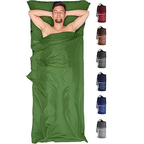Fit-Flip Hüttenschlafsack Ultraleicht, Mikrofaser Schlafsack Inlay mit extra Kissenfach, Inlett Schlafsack seidig weich, Reiseschlafsack als auch Innenschlafsack, Moosgrün