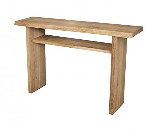 Console design moderne en bois de chêne massif 2 étagères