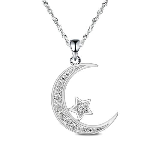 GemsChest Sterling Silver Moon Necklace Cubic Zirconia Crescent Moon Star Phase Pendant Necklace Dainty Chain 18' Chain with Exquisite Gift Box Silver Necklace for Women Ladies Girls (Crescent Moon)