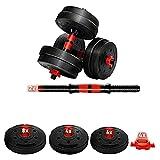 Ducomi Hulk - Juego de pesas 2 en 1, 2 mancuernas ajustables para mujer y hombre, 40 kg, kit de entrenamiento para fitness, entrenamiento y gimnasio (2 x 20 kg)