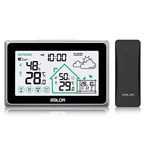 BALDR Wetterstation Funk mit Außensensor, Digital Thermometer Hygrometer Innen und Außen Raumthermometer Hydrometer (Schwarz340)