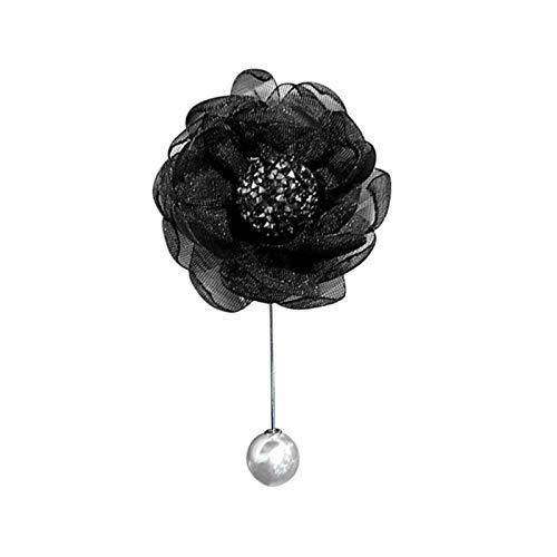 QEWRT Ladies Cloth Art Pearl Fabric Flower Brooch Pin Cardigan Shirt Shawl Pin Professional Coat Badge Accessories,C-3