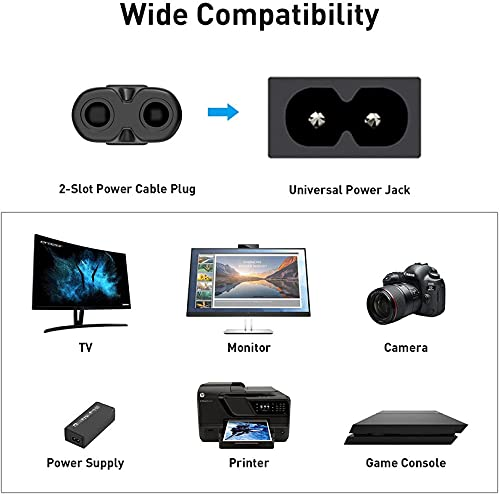 TECH-X 5.9 Feet 2-pin Universal Replacement AC Power Cord Cable Wire for LED TV, Printer,Laptop PC Notebook Computer, Play Station,Tape Recorder, Camera