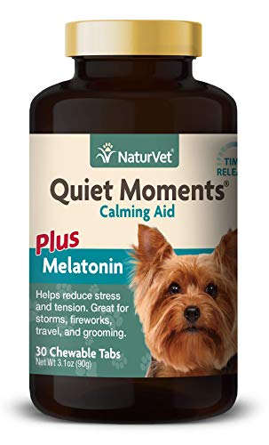 NaturVet Quiet Moments Dog Calming Aid Plus Melatonin, Calming Supplement, Chewable Tablets Time Release, Made in the USA, 30 Count