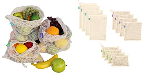 Earthwise Reusable Cotton Produce Bags Premium Set of 12 Grocery Bags Durable, Eco Friendly Material for Fruit and Vegetable Transport and Storage