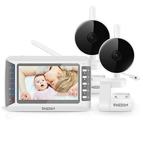 """TMEZON Babyphone mit 2 Kamera, Baby Monitor Video Überwachung mit 4.3\"""" Digital LCD Bildschirm Wireless, Zwei-Wege-Audio, Gegensprechfunktion, Stromsparmodus/Vox, Temperatursensor, Nachtsicht,Zoomen"""