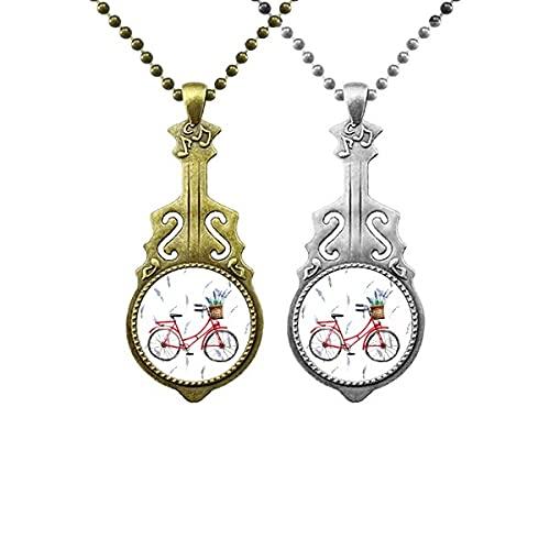 Aquarell Fahrrad Lavendel Blume Liebhaber Musik Gitarre Anhänger Schmuck Halskette Anhänger