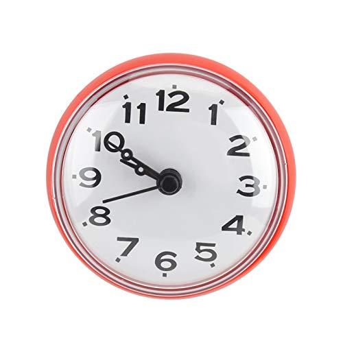 BHDD Angebrachte Badezimmeruhr, dekorative wasserdichte Uhr, Befestigung an der Badezimmerwand, Fliesen oder Spiegel Badezimmer für Küche für Badezimmer oder Küche(red)