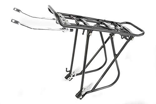 MHCR02 - Bagagedrager voor achterwiel, 24 inch (26 inch), 28 inch fietsen. Met pomphouder, veerklep, houder voor achterlicht. Incl. Universele bevestigingsset Draaglast: 25 kg framebevestiging/chiavi