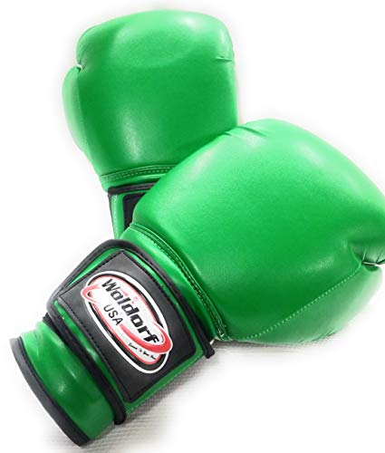 WOLDORF USA Boxing Gloves Kickboxing Muay Thai Punching Bag Vinyl Green - Durable Multi Layered Foam Padded Offers Unbeatable price Adult size 14oz