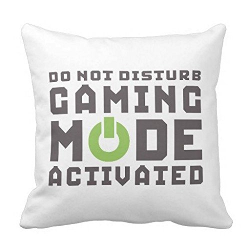 Funny Gamer Pillowcase for Video Games Geek Gaming Home Decor Pillowcase Cushion Cover One Side, 16' x 16'
