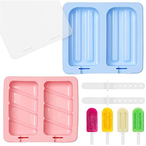 Olywee Moldes de silicona para helados con 2 unidades, creativos para hacer helados, chocolate, postre congelado, bandeja para paletas de pastelería, con 2 tapas y 4 palos