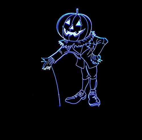 Veilleuse Safety First 3D Homme Citrouille Exagéré Optiques Illusions Lampe De Nuit 7 Couleurs Tactile Lampe De Chevet Chambre Table Art Déco Enfant Lumière De Nuit Avec Câble Usb