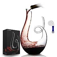 nutriups decanter per vino caraffa per vino in crystalex 1.7l aeratore per vino rosso caraffa per vino soffiato a mano decanter & spazzola per pulizia