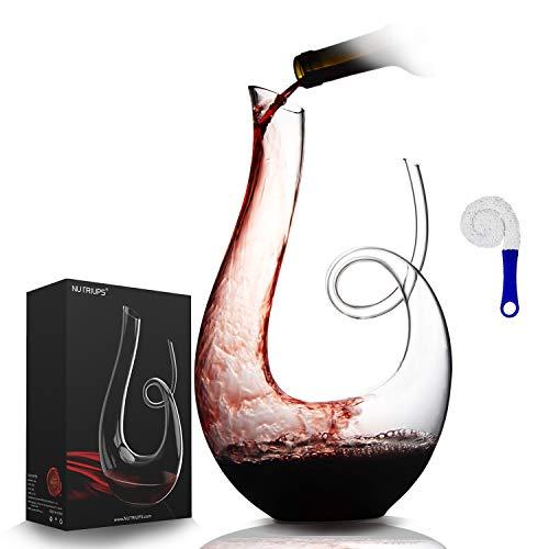 Weindekanter de NUTRIUPS Rotwein-Dekanter aus Crystalex Dekantierflasche für Wein 1.7L Horn Weinkaraffen Schwan Wein-Karaffe Dekanter & Dekanter-Reinigungsbürste