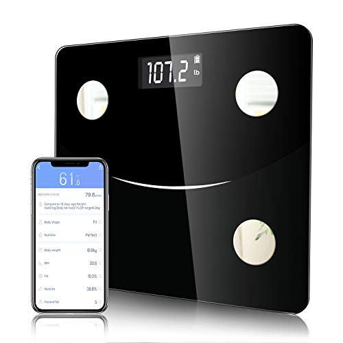 Youer Bluetooth Body Fat Scale, Digitale Gewicht Badkamer Schalen met Smart BMI Schaal, Hoge Precisie Weegschaal Voor Body Composition Monitors, Smartphone App