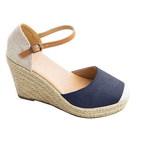 Damen Espadrilles Sandalen Keilabsatz Plateau Knöchelschnallen Geschlossen Zeh Wildleder Sommer Schuhe