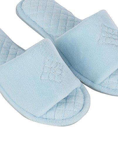 DEARFOAMS Women's Microfiber Velour Slipper -Resort Blue -L