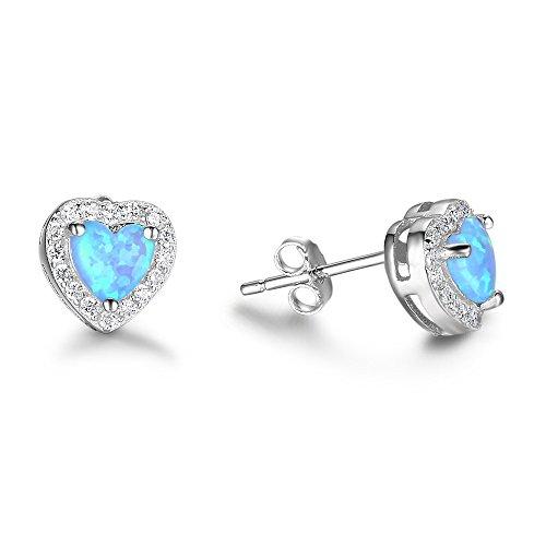 B&H-ERX Blue Opal Love Heart Stud Pendientes 925 Sterling Silver Hipoalergénico Lindo Ear Studs Joyas Regalos para Mujeres Hija Cumpleaños Regalo